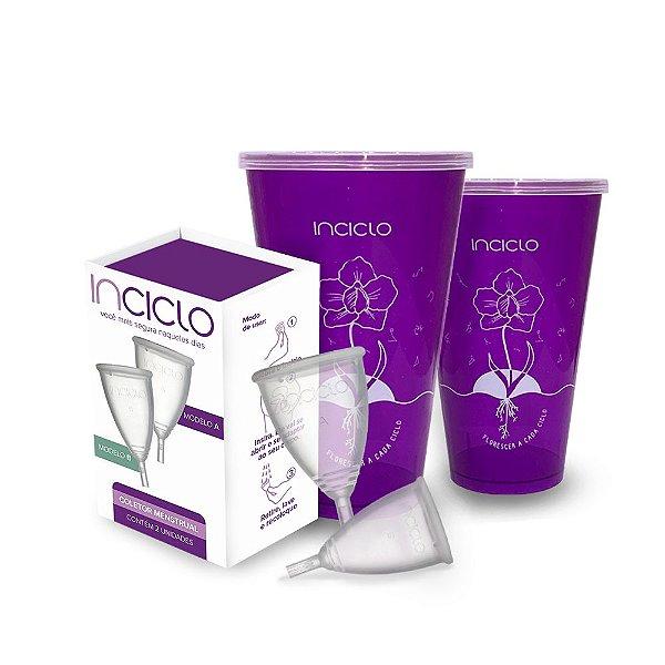 Kit Coletor Menstrual Inciclo AB (1 de cada tamanho) + Copo Esterilizador (2 unidades)