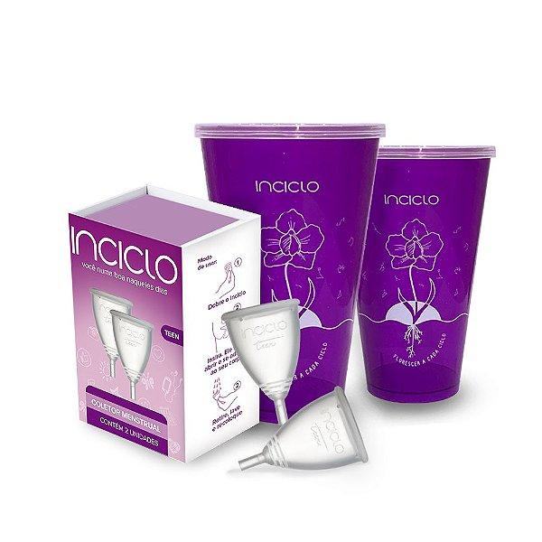 Kit Coletor Menstrual Inciclo Teen (2 unidades) + Copo Esterilizador (2 unidades)
