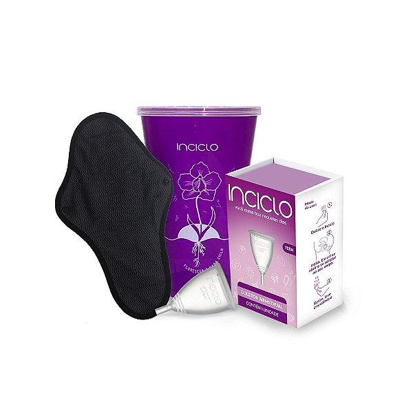Kit Minha Primeira Vez: Coletor Menstrual Teen + Absorvente Reutilizável Inciclo + Copo Esterilizador