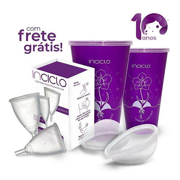 Kit Frete Grátis: 2 Coletores Menstruais A + 2 Lovin Disco Menstrual + 2 Copos Esterilizadores
