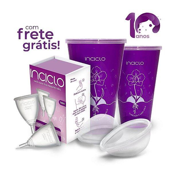 Kit Frete Grátis: 2 Coletores Menstruais Teen + 2 Lovin Disco Menstrual + 2 Copos Esterilizadores