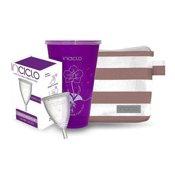 kit Coletor Menstrual Inciclo A + Copo Esterilizador + Nécessaire Vip Rose