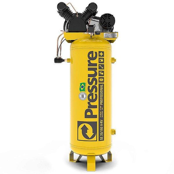 Compressor de Ar Vertical 20 Pés 180 Litros Trifásico - Pressure