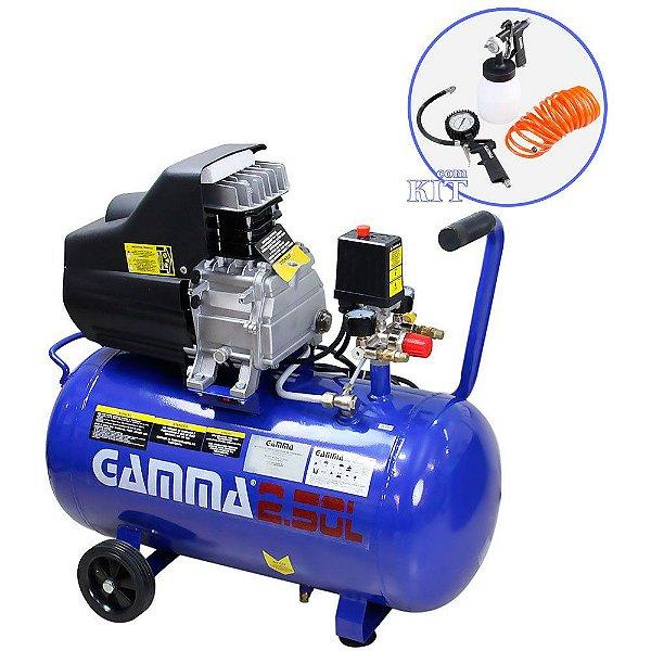 Compressor de Ar 50 com Kit de Pintura - 2,5HP 50 Litros - Gamma