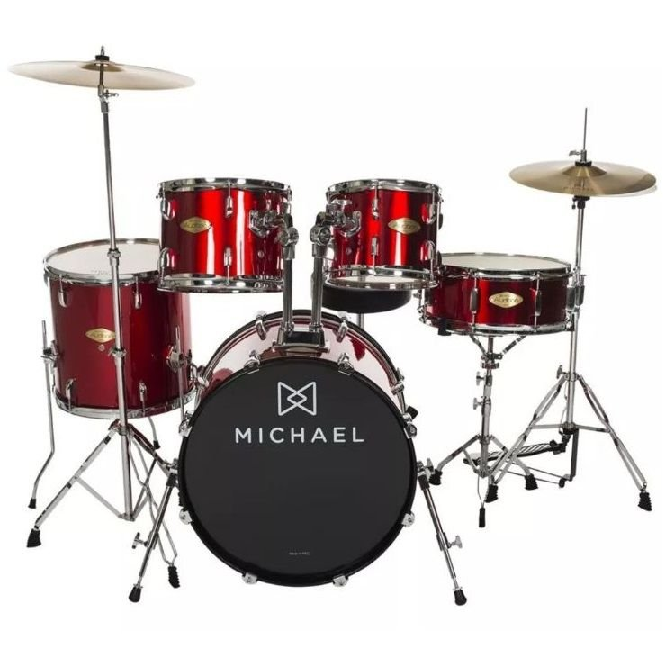 """Bateria Acústica 18"""" Michael Audition DM826 RD com Pratos"""