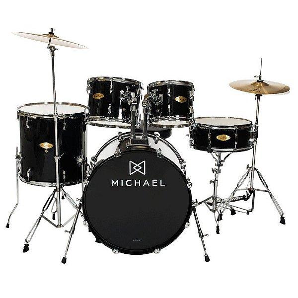 """Bateria Acústica 22"""" Michael Audition DM828 BK com Pratos"""