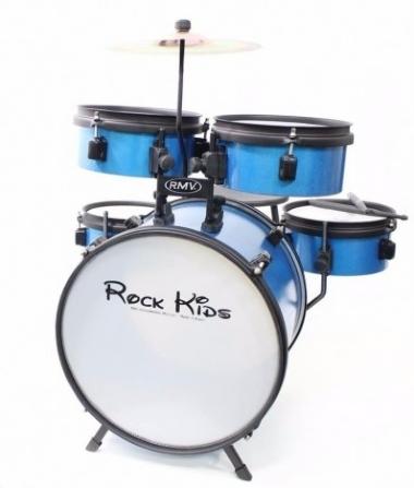 Bateria Acústica Infantil Rock Kids RMV PBKD14652 Azul Sparkle