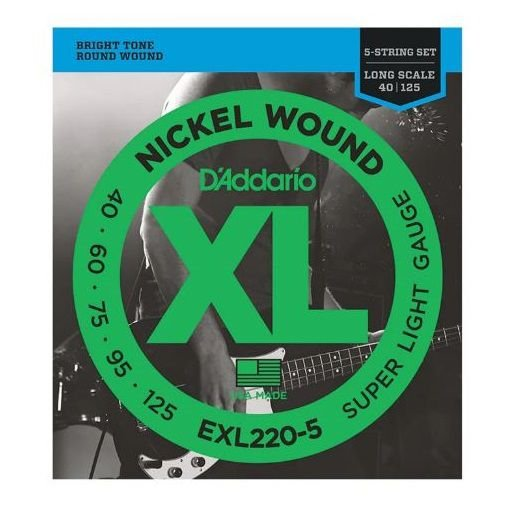 Encordoamento Contrabaixo 5 Cordas .040 D'Addario Super Light EXL220-5
