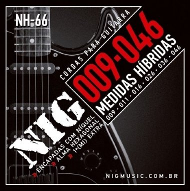 Encordoamento Guitarra .009 NIG Híbrida NH-66