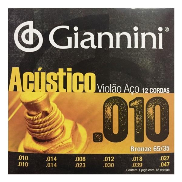 Encordoamento Violão Aço .010 Giannini 12 Cordas GESWA12