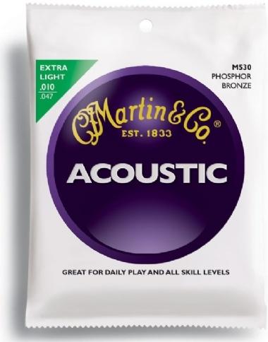 Encordoamento Violão Aço .010 Martin Extra Light M530