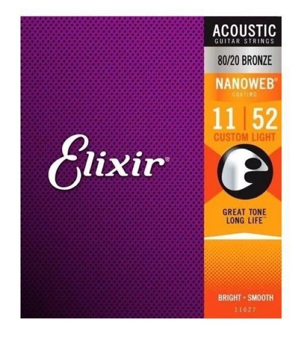 Encordoamento Violão Aço .011 Elixir Custom Light 11027