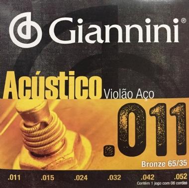 Encordoamento Violão Aço .011 Giannini Acústico GESPW