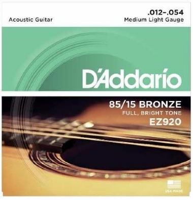 Encordoamento Violão Aço .012 D'Addario Médio Leve EZ920