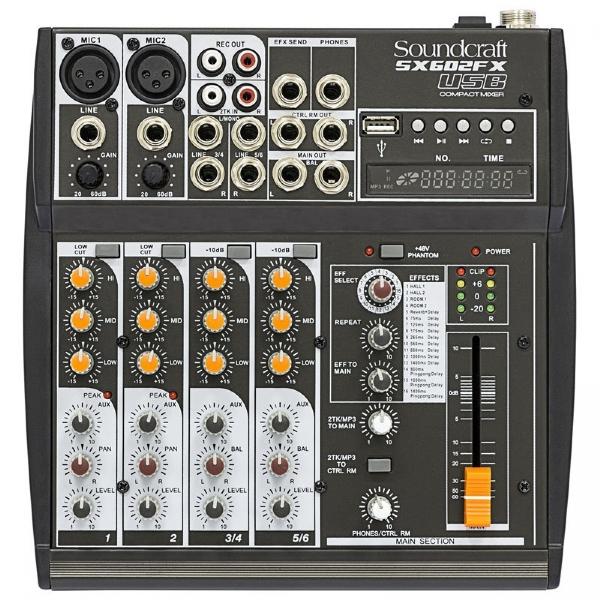 Mesa de Som 06 Canais Soundcraft SX602FX USB
