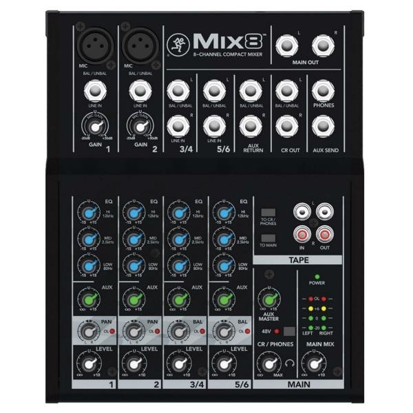 Mesa de Som 08 Canais Mackie Mix8