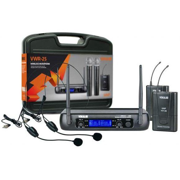Microfone Headset Sem Fio Duplo Vokal VWR25/HT9A
