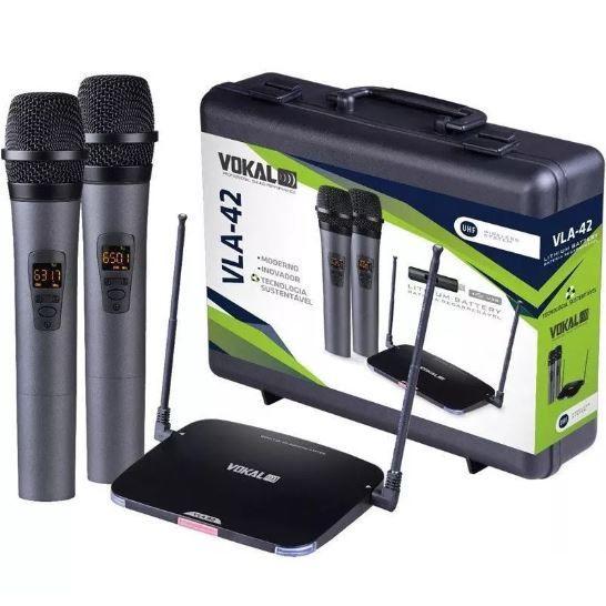 Microfone sem Fio de Mão Duplo Vokal VLA42