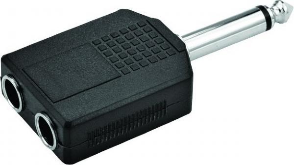 Plug Adaptador 2 P10 Fêmea / 1 P10 Macho Mono Zad Som LL301