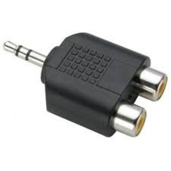 Plug Adaptador 2 RCA Fêmea / 1 RCA Macho Stereo