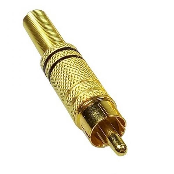 Plug RCA Macho com Mola Zad Som Gold RCAMG