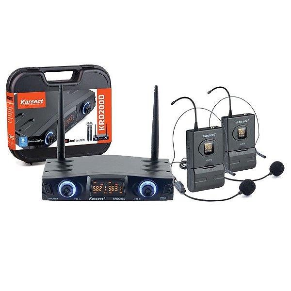 Microfone Headset Sem Fio Duplo Karsect KRD200D