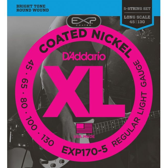Encordoamento Contrabaixo 5 Cordas .045 D'Addario Regular Light EXP170-5
