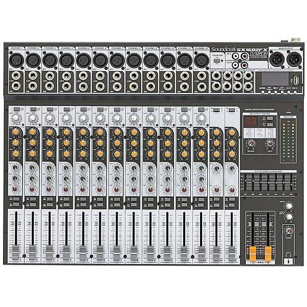 Mesa de Som 16 Canais Soundcraft SX1602FX USB