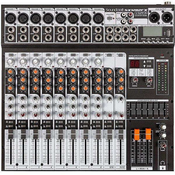 Mesa de Som 12 Canais Soundcraft SX1202FX USB