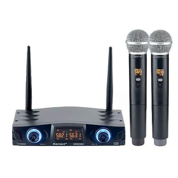 Microfone sem Fio de Mão Duplo Karsect KRD200DM