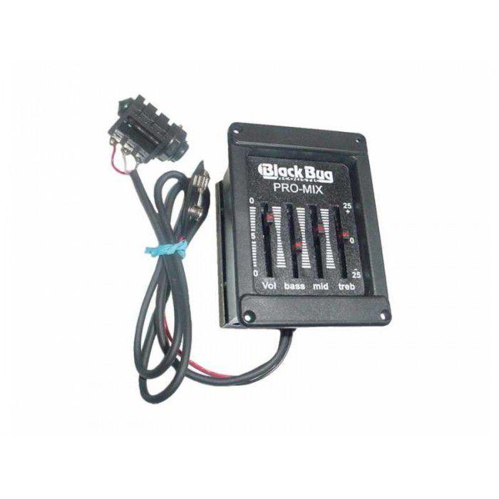 Pré-Amplificador Violão / Cavaco Black Bug Pro Mix