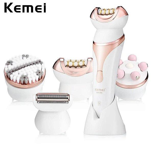 Kemei KM-8001 5 EM 1 Elétrica Depilador Feminino Massageador Kit de Ferramentas - Plugue UE. Envio Internacional E Frete Grátis🛩✈🛫