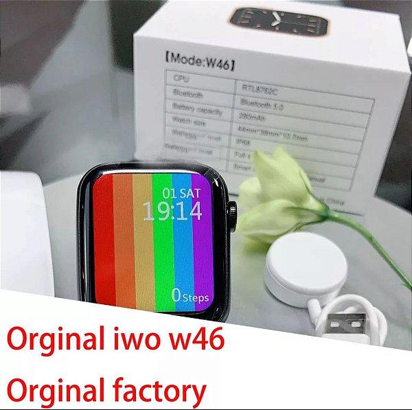 Original iwo w46 relógio inteligente amoled 1.75 Polegada tela grande de carregamento sem fio ecg ppg personalizado papel parede smartwatch iwo w46