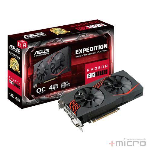 Placa de vídeo PCI-E Asus AMD Radeon RX 570 4 Gb GDDR5 256 Bits