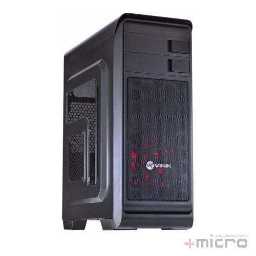 Gabinete gamer VX Vinik Hunter preto led vermelho