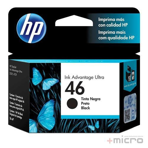 Cartucho de tinta HP 46 (CZ637AL) preto 26 ml