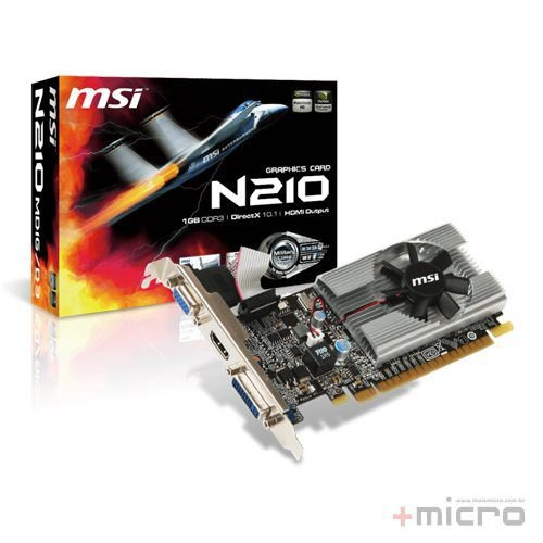 Placa de vídeo PCI-E msi nVIDIA 210 1 Gb DDR3 64 Bits