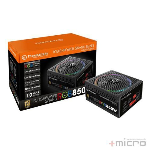 Fonte de alimentação ATX 850W reais modular 80Plus GOLD LED RGB Thermaltake Toughpower Grand