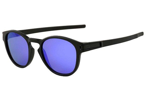 020d9b4ff2c44 Óculos de Sol Oakley Latch Squared Espelhado Azul Preto Fosco Masculino e  Feminino