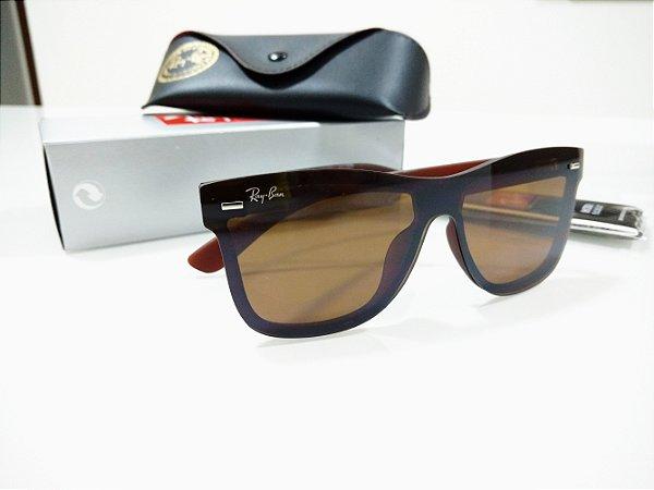 82138833e3580 Óculos de Sol Ray Ban Blaze Wayfarer Marrom Quadrado Feminino e Masculino