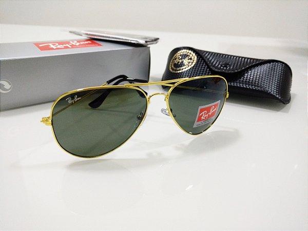 e3389b32672de Óculos de Sol Ray Ban Aviador 3026 Verde com Dourado Clássico Feminino e  Masculino