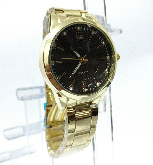 a3509826f0e Relógio Dourado Fundo Preto com Strass Quartz Pulseira Dourada Feminino e  Masculino