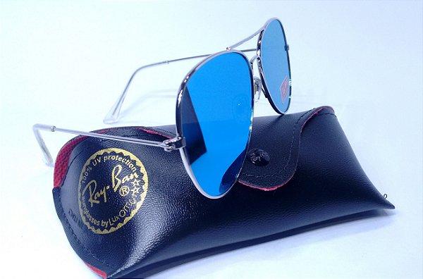 0b7433d6ce062 Óculos de Sol Ray-Ban Aviador 3026 Slim Espelhado Azul Feminino e Masculino