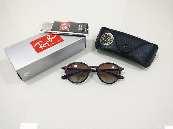 8c29b2bad5ab9 Óculos de Sol Ray-Ban Round Marrom Fosco Degradê Masculino e Feminino  Redondo