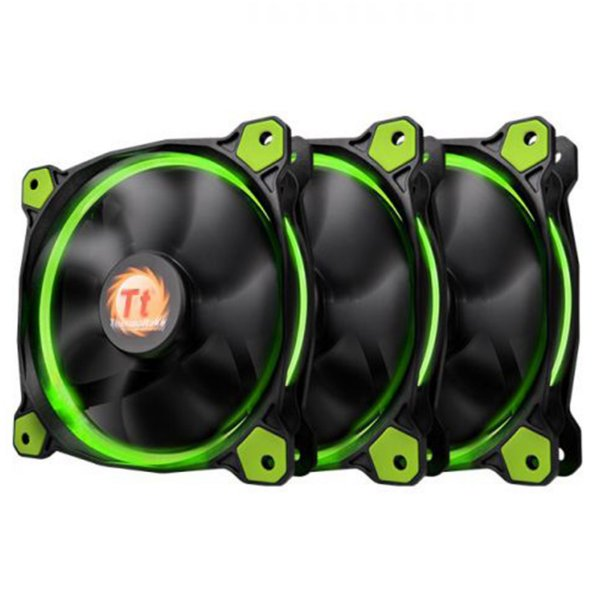 Pack 3x Fan Thermaltake Ring 12 Verde 120mm 1500RPM