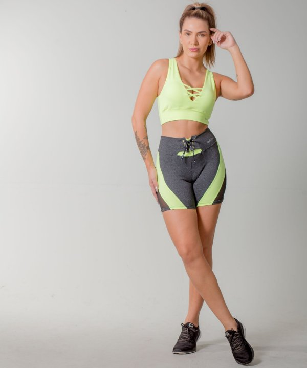 SHORTS POWERFUL+TOP FITS - OXY/VERDE