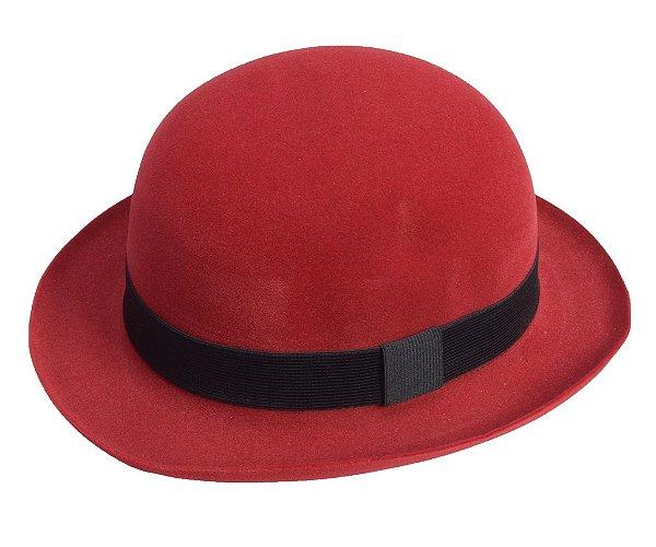 Chapéu Coco Vermelho Edição Veludo