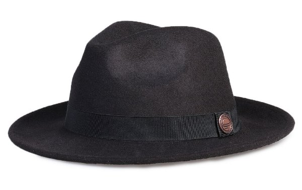 Chapéu Fedora Preto Aba Média Levemente Curva 6,5cm