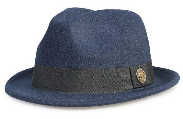 Chapéu Fedora Azul Marinho Aba Curta 4cm
