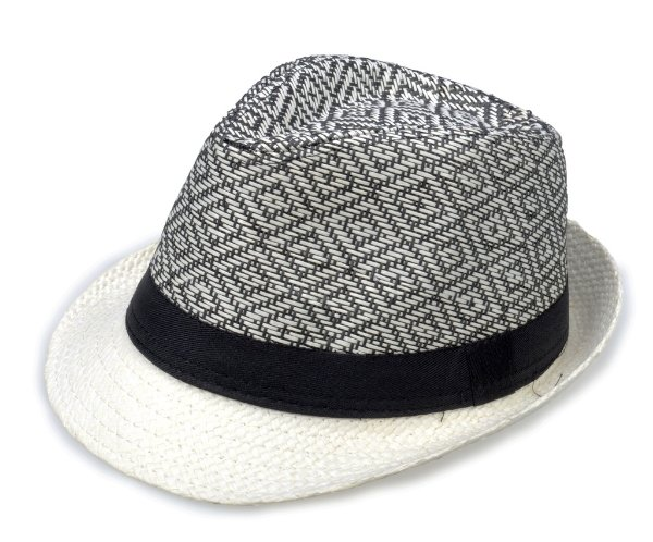 Chapéu Fedora Aba Curta Palha Preto e Branco